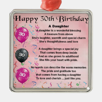 Daughter Poem  30th Birthday Silver-Colored Square Decoration