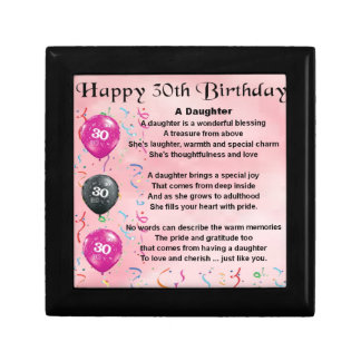 Daughter Poem  30th Birthday Small Square Gift Box