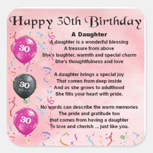 Daughter Poem 30th Birthday Square Sticker