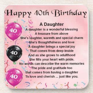 Daughter Poem  40th Birthday Drink Coasters
