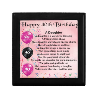 Daughter Poem  40th Birthday Gift Box