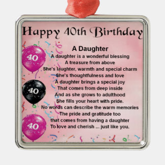 Daughter Poem  40th Birthday Silver-Colored Square Decoration