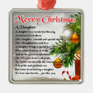 Daughter Poem - Christmas Image Silver-Colored Square Decoration