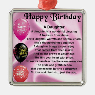 daughter poem  happy birthday Silver-Colored square decoration