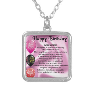 daughter poem  happy birthday silver plated necklace