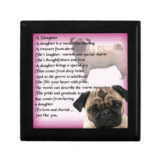Daughter Poem - Pug design Small Square Gift Box
