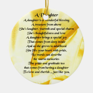 Daughter Poem - Yellow Silk Christmas Ornament