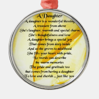 Daughter Poem - Yellow Silk Silver-Colored Round Decoration