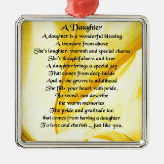 Daughter Poem - Yellow Silk Silver-Colored Square Decoration