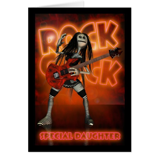 Daughter Rock Chick Birthday Card Moonies rag doll