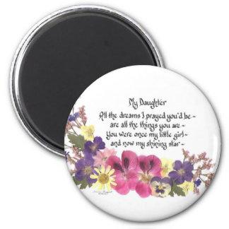 Daughter saying 6 cm round magnet