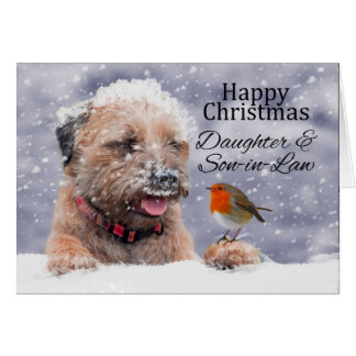 Daughter & Son-in-law, Christmas, Border Terrier Greeting Card