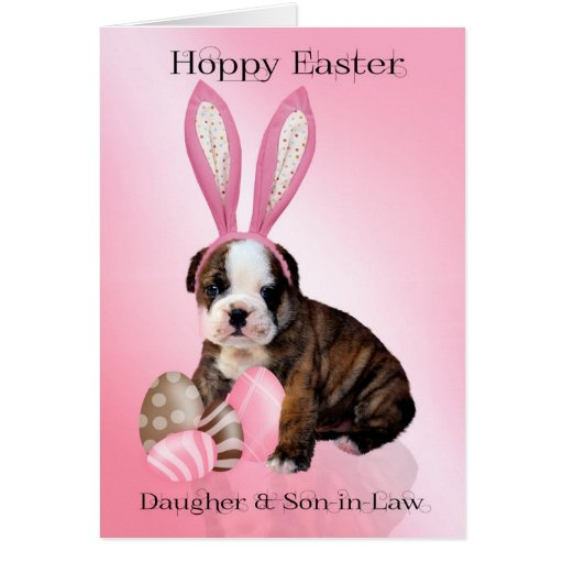 Daughter & Son-in-Law Cute Easter Bulldog Puppy Greeting Cards