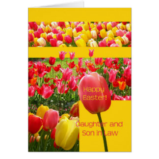 Daughter & Son in Law Happy Easter Tulip card