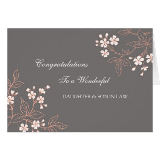 Daughter & Son In Law Wedding Congratulations Grey Greeting Card