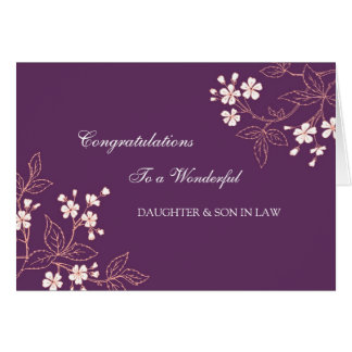 Daughter & Son In Law Wedding Congratulations Plum Greeting Card