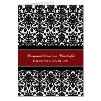 Daughter & Son In Law Wedding Congratulations Red Greeting Card