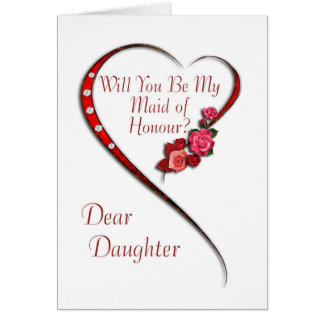 Daughter, Swirling heart Maid of Honour invite Card