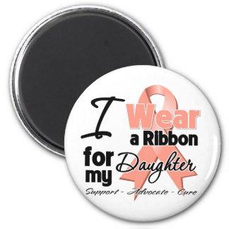 Daughter - Uterine Cancer Ribbon 6 Cm Round Magnet