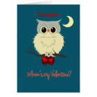 Daughter Valentine's Day Cute Owl Humour Card