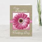 Daughter Wedding Day Pink Gerbera Card