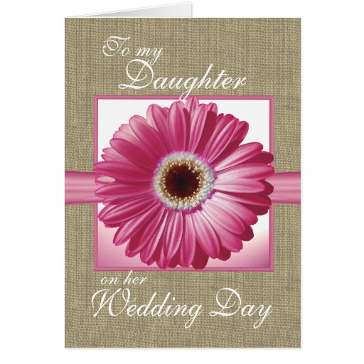 Daughter Wedding Day Pink Gerbera Greeting Card