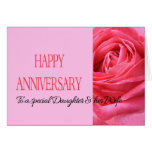 Daughter & Wife Anniversary Card Pink Rose