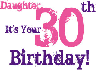 Daughters 30th Birthday Greeting In Purple Pink Card
