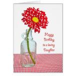 Daughter's Birthday Polka Dot Daisy Greeting Card