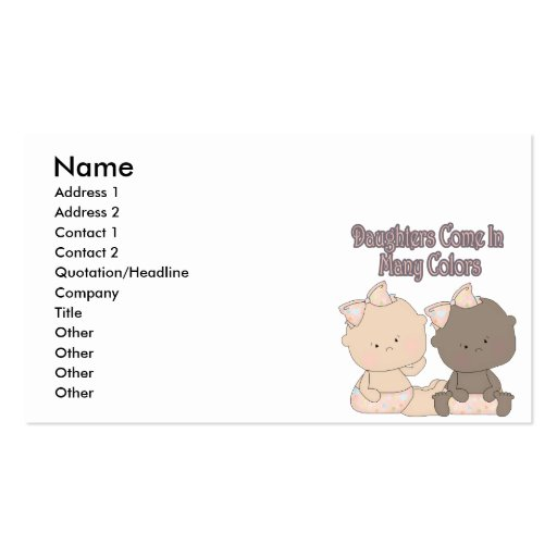 daughters come in many colors adoption design business cards