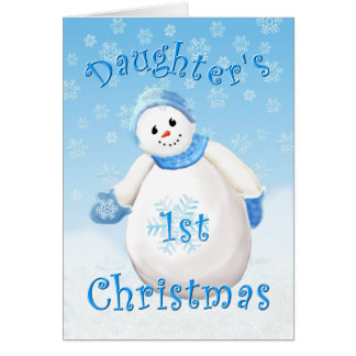 Daughter's First Christmas Snowman Greeting Card
