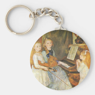Daughters of Catulle Mendes by Pierre Renoir Basic Round Button Key Ring