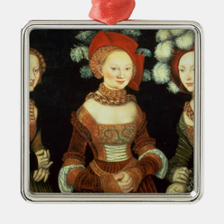 Daughters of Duke Heinrich of Frommen Silver-Colored Square Decoration