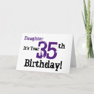 0fa0f7b99 Daughte's 35th birthday greeting in black, purple. card