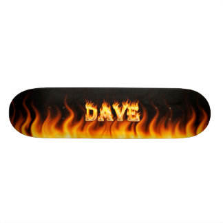 Dave skateboard fire and flames design
