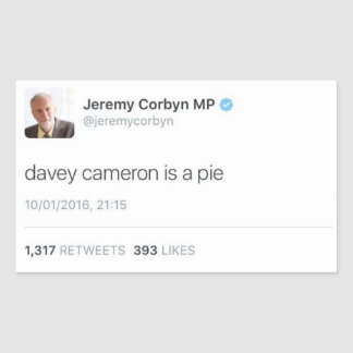 Davey Cameron Is A Pie Rectangular Sticker