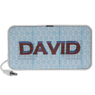 David 3D text graphic over light blue lace Speakers