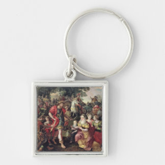 David and Abigail or Alexander Silver-Colored Square Key Ring