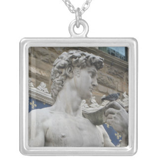 David by the Italian artist Michelangelo Square Pendant Necklace