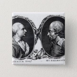 David Garrick and Shakespeare 15 Cm Square Badge