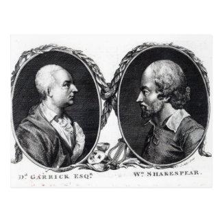 David Garrick and Shakespeare Postcard