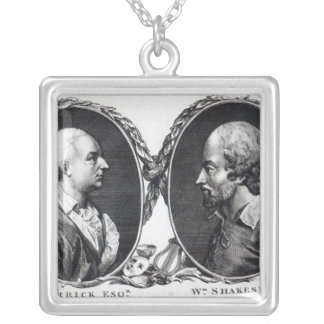 David Garrick and Shakespeare Silver Plated Necklace