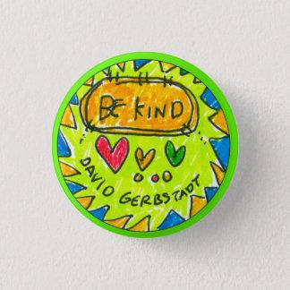 david gerbstadt, be kind, button, 3 hearts, 3 cm round badge