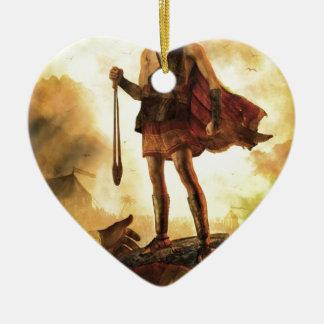 David slays Goliath Ceramic Heart Decoration