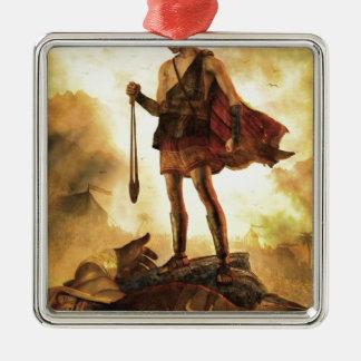 David slays Goliath Silver-Colored Square Decoration