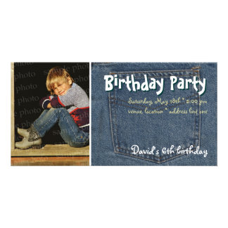 David's Birthday Party Photo Invitation Personalized Photo Card
