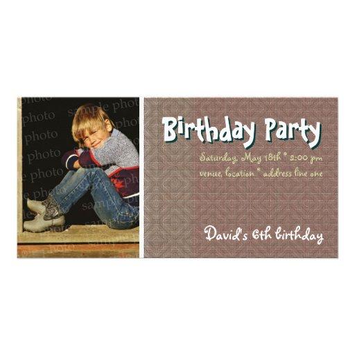 David's Birthday Party Photo Invitation Photo Card
