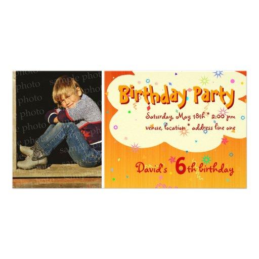 David's Birthday Party Photo Invitation Photo Cards