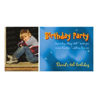 David's Birthday Party Photo Invitation Photo Card Template