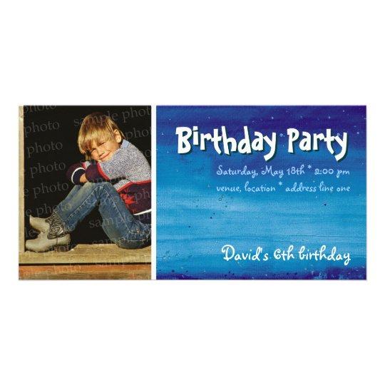 David's Birthday Party | Photo Invitation Photo Card Template